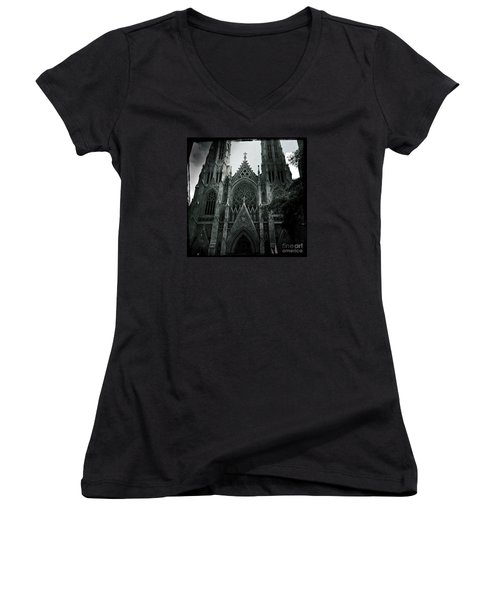 Beautiful St Patricks Cathedral Women's V-Neck T-Shirt (Junior Cut) by Miriam Danar