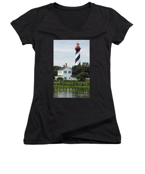 Beautiful Waterfront Lighthouse Women's V-Neck T-Shirt (Junior Cut) by D Hackett