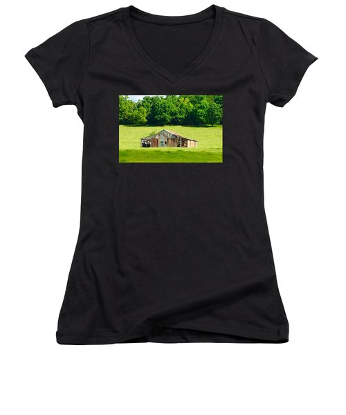 Beautifully Noble Barn Women's V-Neck T-Shirt (Junior Cut)