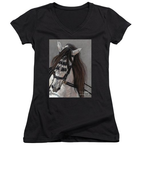 Women's V-Neck T-Shirt (Junior Cut) featuring the painting Beauty In Hand by Sheri Gordon