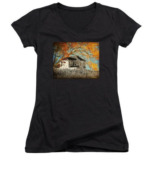 Beauty Surrounds Deserted Home Women's V-Neck T-Shirt (Junior Cut) by Kathy M Krause