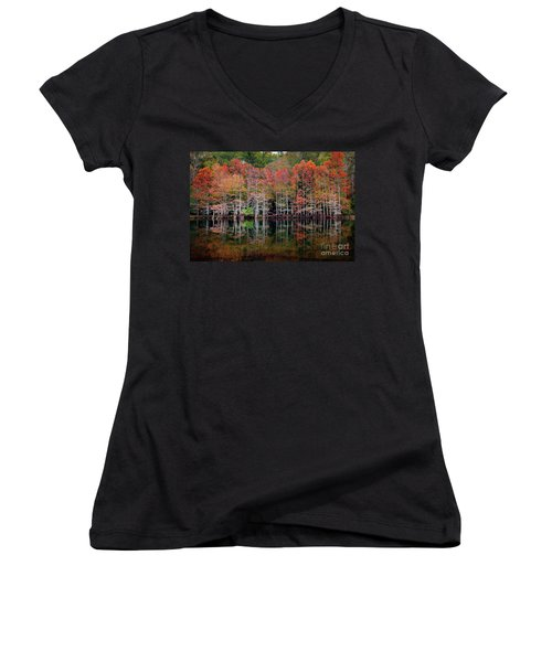 Beaver's Bend Cypress Soldiers Women's V-Neck T-Shirt (Junior Cut) by Tamyra Ayles