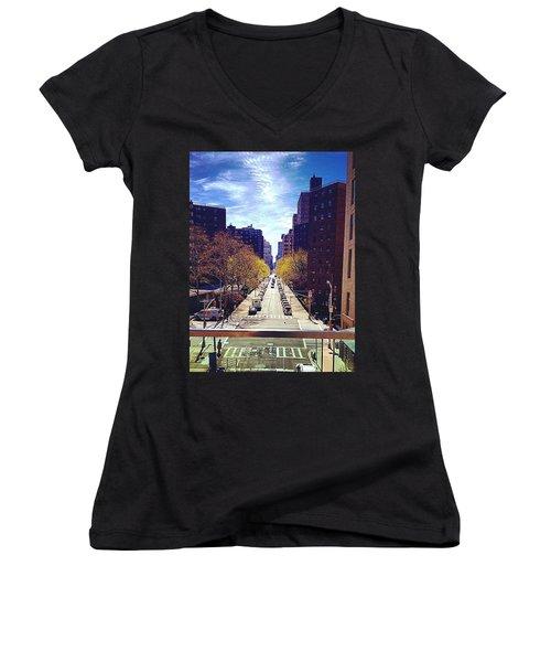 Highline Park Women's V-Neck T-Shirt (Junior Cut) by Mckenzie Weldon