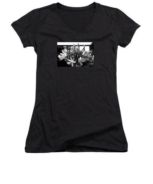 Becoming Beautiful - Bw Women's V-Neck T-Shirt (Junior Cut) by Linda Shafer
