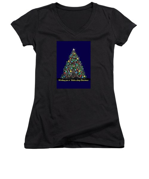 Bedazzled Christmas Card Women's V-Neck T-Shirt (Junior Cut)