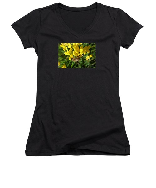 Bee And Broom In Bloom Women's V-Neck