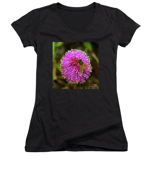Bee On Puff Ball Women's V-Neck T-Shirt (Junior Cut) by Larry Nieland