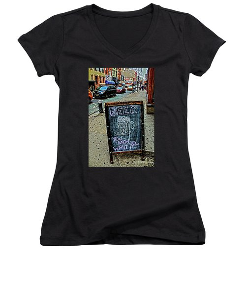 Women's V-Neck T-Shirt (Junior Cut) featuring the photograph Beer Sign by Sandy Moulder
