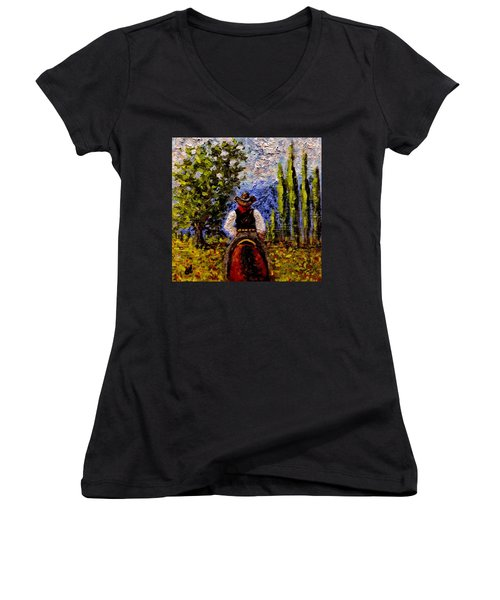 Before The Sun Goes Down.. Women's V-Neck T-Shirt (Junior Cut) by Cristina Mihailescu