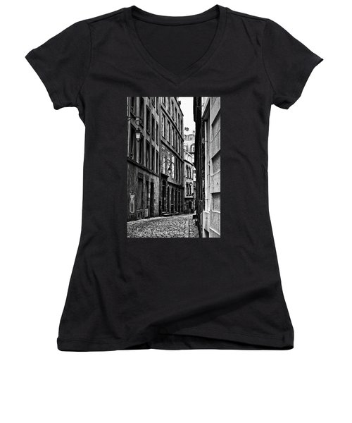 Women's V-Neck T-Shirt featuring the photograph Behind The Walls  by Elf Evans