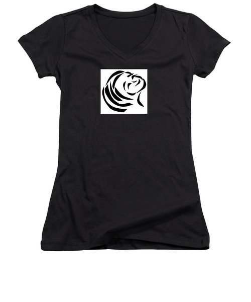 Women's V-Neck T-Shirt (Junior Cut) featuring the mixed media Believing by Delin Colon