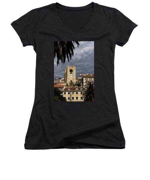 Bell Tower Against Roiling Sky Women's V-Neck T-Shirt (Junior Cut) by Lorraine Devon Wilke