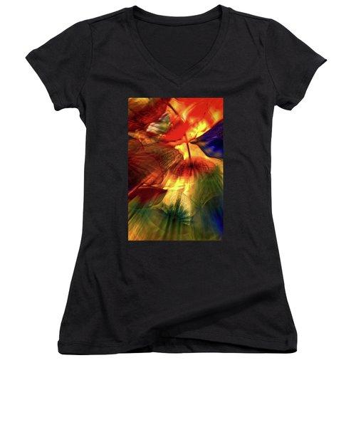 Bellagio Ceiling Sculpture Abstract Women's V-Neck T-Shirt (Junior Cut) by Stuart Litoff