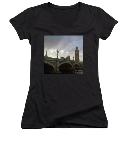 Ben And The Bridge Women's V-Neck T-Shirt (Junior Cut) by Sebastian Mathews Szewczyk