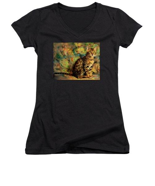 Bengal Kitten Women's V-Neck T-Shirt (Junior Cut) by John Robert Beck