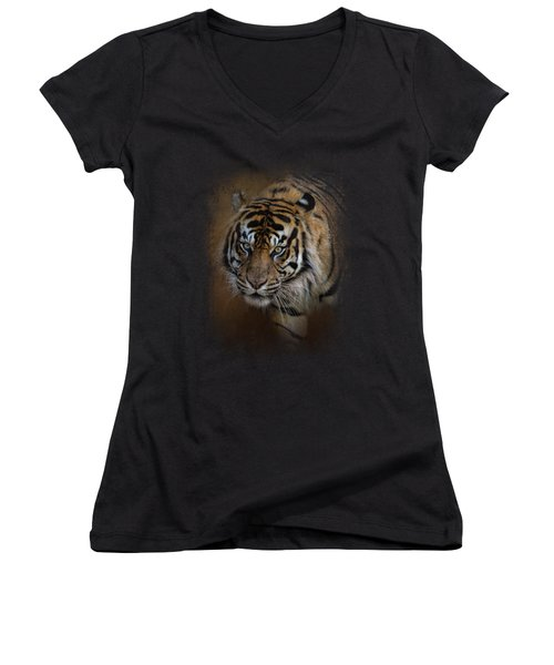 Bengal Stare Women's V-Neck T-Shirt