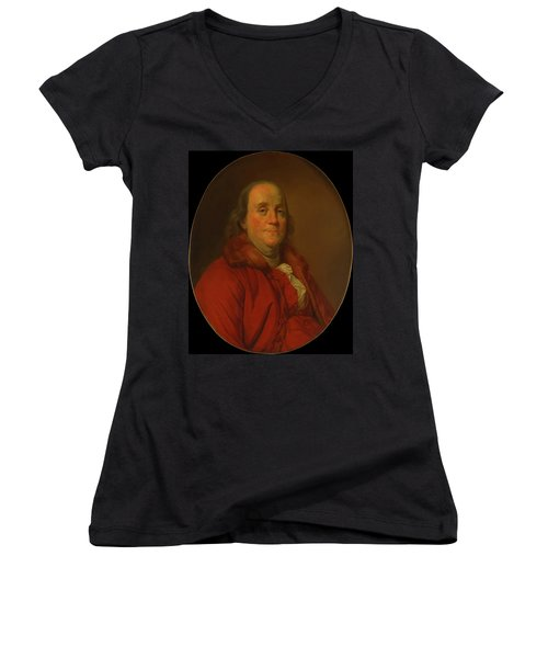 Women's V-Neck T-Shirt (Junior Cut) featuring the painting Benjamin Franklin by Workshop Of Joseph Duplessis