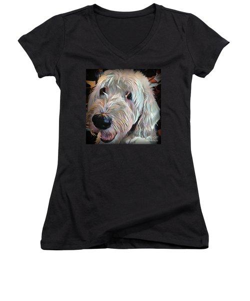 Women's V-Neck T-Shirt (Junior Cut) featuring the photograph Bentley by Jodie Marie Anne Richardson Traugott          aka jm-ART