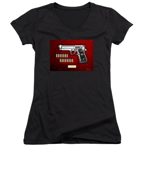 Beretta 92fs Inox Over Red Velvet Women's V-Neck T-Shirt