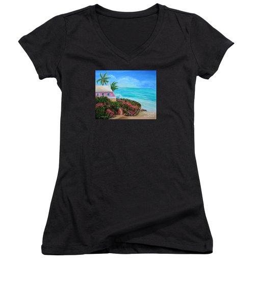 Bermuda Bliss Women's V-Neck T-Shirt (Junior Cut) by Shelia Kempf