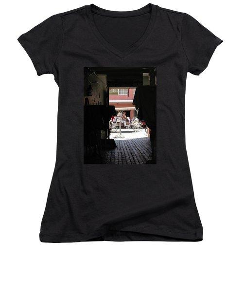 Women's V-Neck T-Shirt (Junior Cut) featuring the photograph Bermuda Carriage by Ian  MacDonald