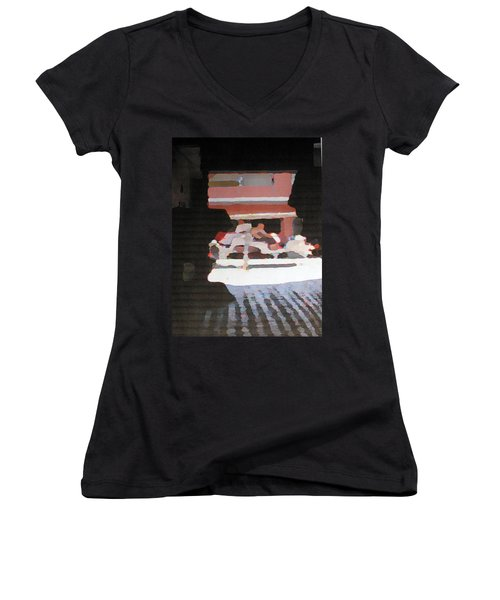 Women's V-Neck T-Shirt (Junior Cut) featuring the photograph Bermuda Carriage Impressions by Ian  MacDonald