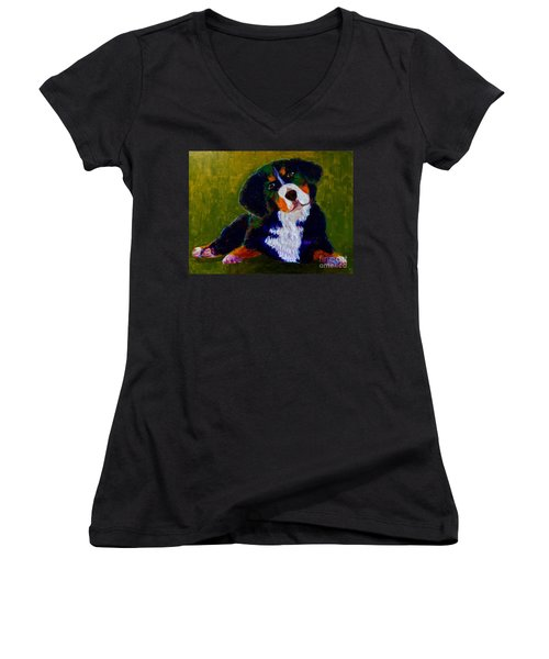 Women's V-Neck T-Shirt (Junior Cut) featuring the painting Bernese Mtn Dog Puppy by Donald J Ryker III