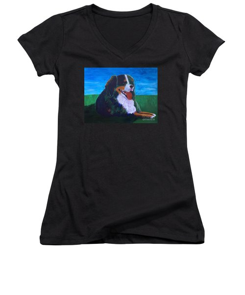Women's V-Neck T-Shirt (Junior Cut) featuring the painting Bernese Mtn Dog Resting On The Grass by Donald J Ryker III