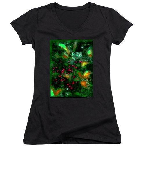 Women's V-Neck T-Shirt (Junior Cut) featuring the photograph Berries by Iowan Stone-Flowers