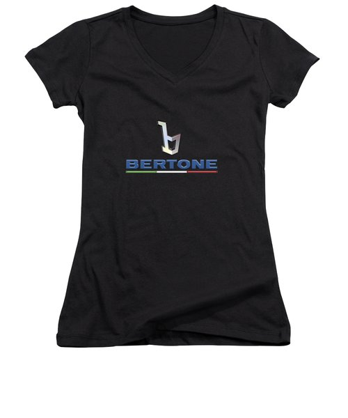 Bertone - 3 D Badge On Black Women's V-Neck T-Shirt (Junior Cut)