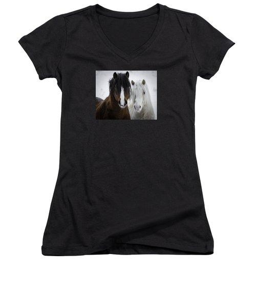 Best Friends II Women's V-Neck T-Shirt (Junior Cut) by Everet Regal