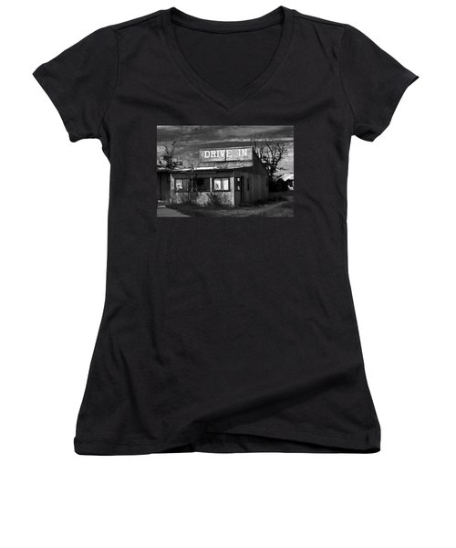 Better Days - An Old Drive-in Women's V-Neck (Athletic Fit)