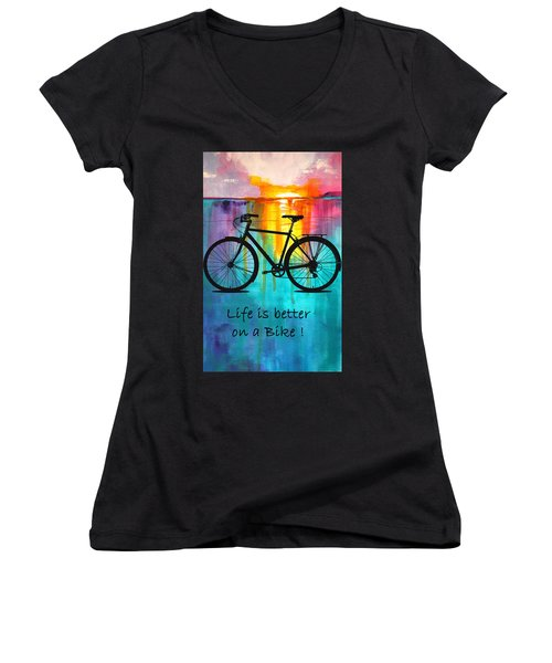 Better On A Bike Women's V-Neck (Athletic Fit)