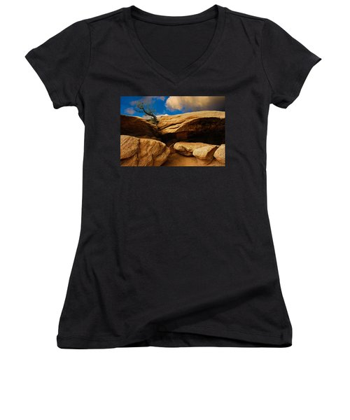 Between A Rock And A Hard Place Women's V-Neck