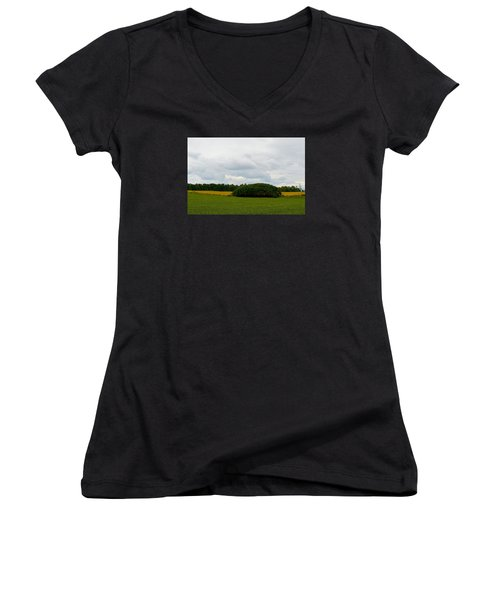 Women's V-Neck T-Shirt (Junior Cut) featuring the photograph Between The Fields by Lyle Crump