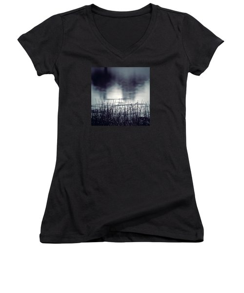 Women's V-Neck T-Shirt (Junior Cut) featuring the photograph Between The Waters by Trish Mistric