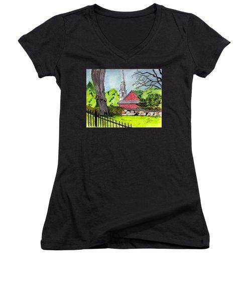 Beverly First Baptist Church Women's V-Neck T-Shirt (Junior Cut) by Paul Meinerth