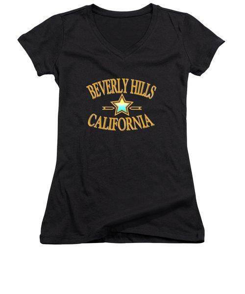Beverly Hills California Star Design Women's V-Neck