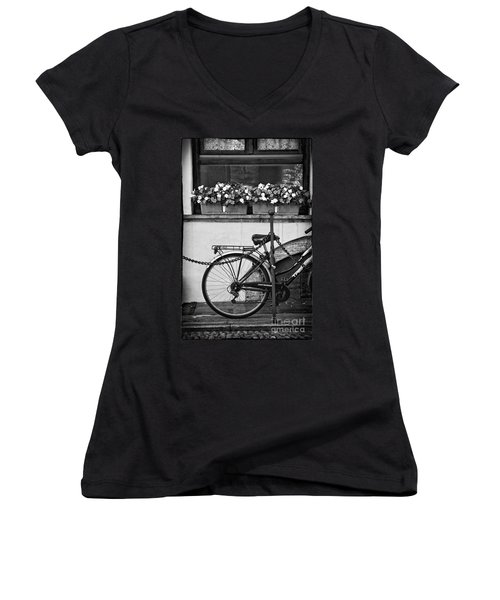 Bicycle With Flowers Women's V-Neck (Athletic Fit)