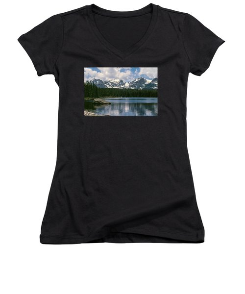 Bierstadt Lake Hallett And Otis Peaks Rocky  Mountain National Park Women's V-Neck (Athletic Fit)