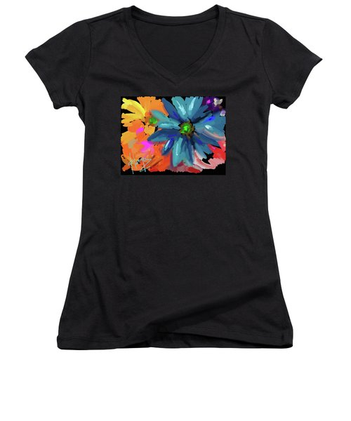 Women's V-Neck T-Shirt (Junior Cut) featuring the painting Big Blue Flower by DC Langer