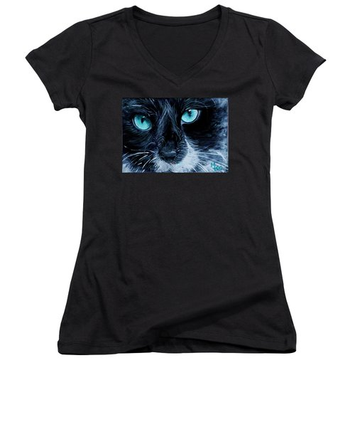 Big Blue Women's V-Neck T-Shirt (Junior Cut) by Mary-Lee Sanders