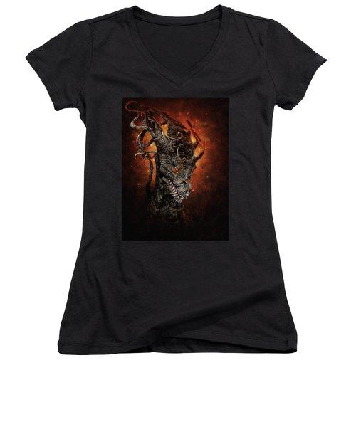 Big Dragon Women's V-Neck T-Shirt