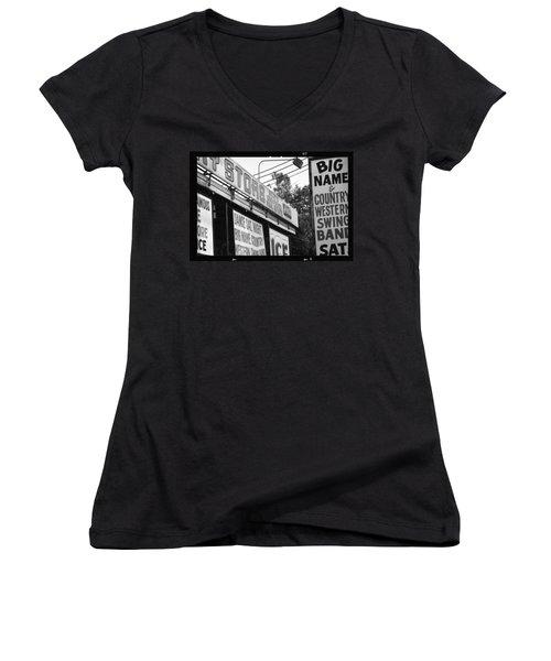 Women's V-Neck T-Shirt (Junior Cut) featuring the photograph Big Name Big Texas by Carolina Liechtenstein