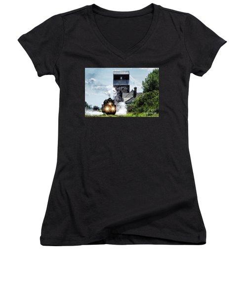 Big Valley Steam Women's V-Neck T-Shirt (Junior Cut) by Brad Allen Fine Art