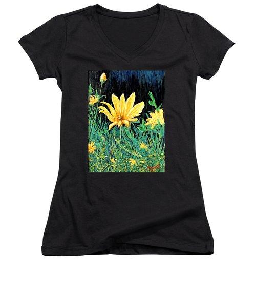 Women's V-Neck T-Shirt (Junior Cut) featuring the painting Big Yellow by Ian  MacDonald