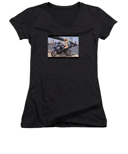 Women's V-Neck T-Shirt (Junior Cut) featuring the photograph Bike, Babe, And Bridge In The Big Apple by Lawrence Christopher