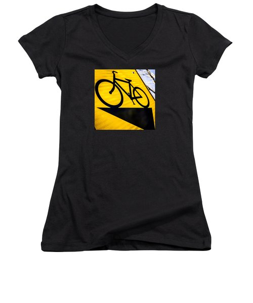 Bike Sign Women's V-Neck T-Shirt (Junior Cut) by Wade Brooks