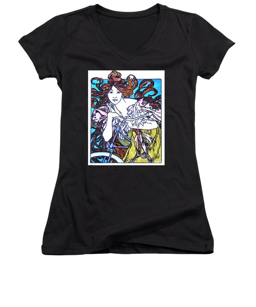 Biker Girl Women's V-Neck (Athletic Fit)
