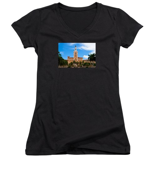 Women's V-Neck T-Shirt (Junior Cut) featuring the photograph Biltmore Hotel by Ed Gleichman